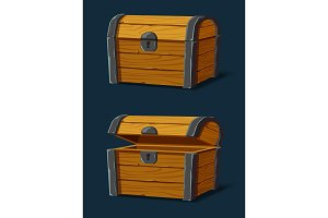 Set of isolated wooden chest or