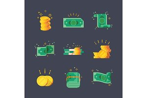 Icons of dollar banknotes with