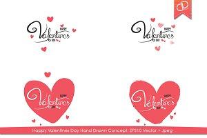 Happy Valentines Day Text Hand Drawn