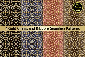Chains and Ribbons Seamless Pattern