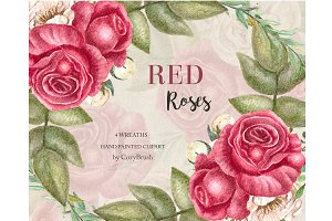 Red roses wreaths clipart wedding