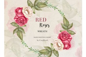 Wreath Red Roses Clipart Watercolor