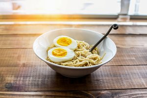 Ramen noodle with eggs and sunbeam