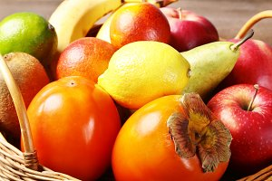 Fresh mixed exotic fruits in basket
