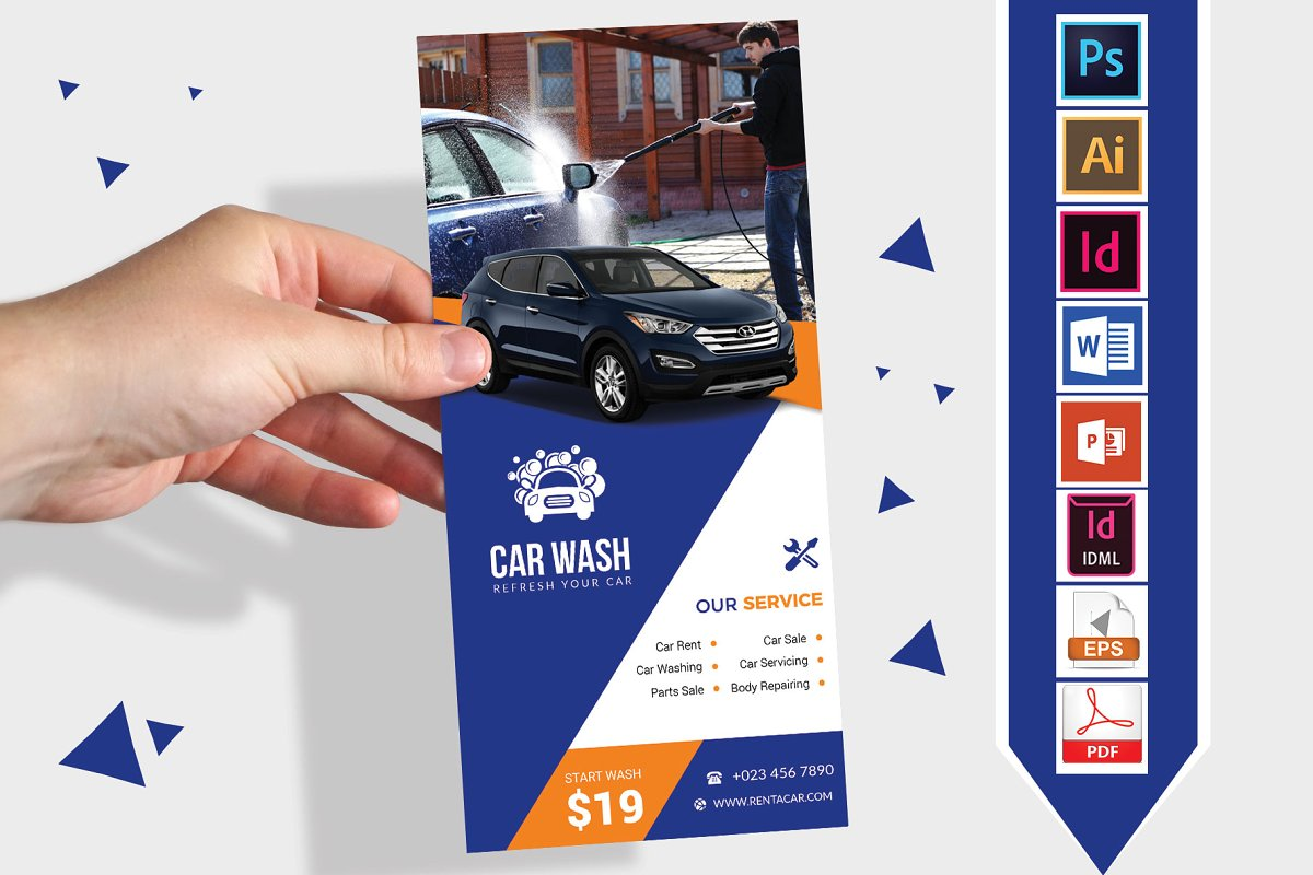 Rack Card | Car Wash DL Flyer Vol-01 ~ Flyer Templates