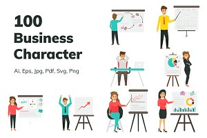 100 Flat Business Characters