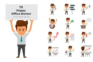 70 Happy Office Workers