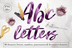 Purple watercolor letters clip art