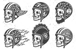 Motorcycle handmade drawing helmets