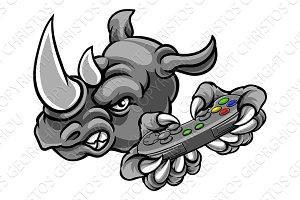 Rhino Gamer Mascot Holding
