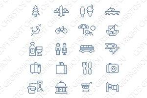 Pixel Art Tourist Icons 8 Bit Game