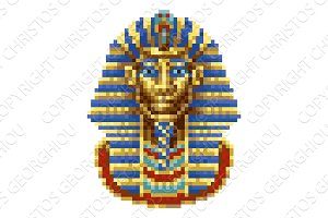 Egyptian Pharaoh Mask Icon Pixel Art