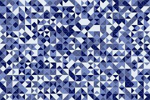 Blue mosaic triangle tiles flooring