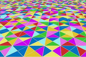 Colorful Mosaic triangle tiles floor
