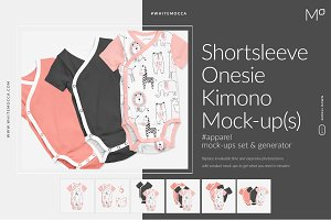 Shortsleeve Onesie Kimono Mock-ups