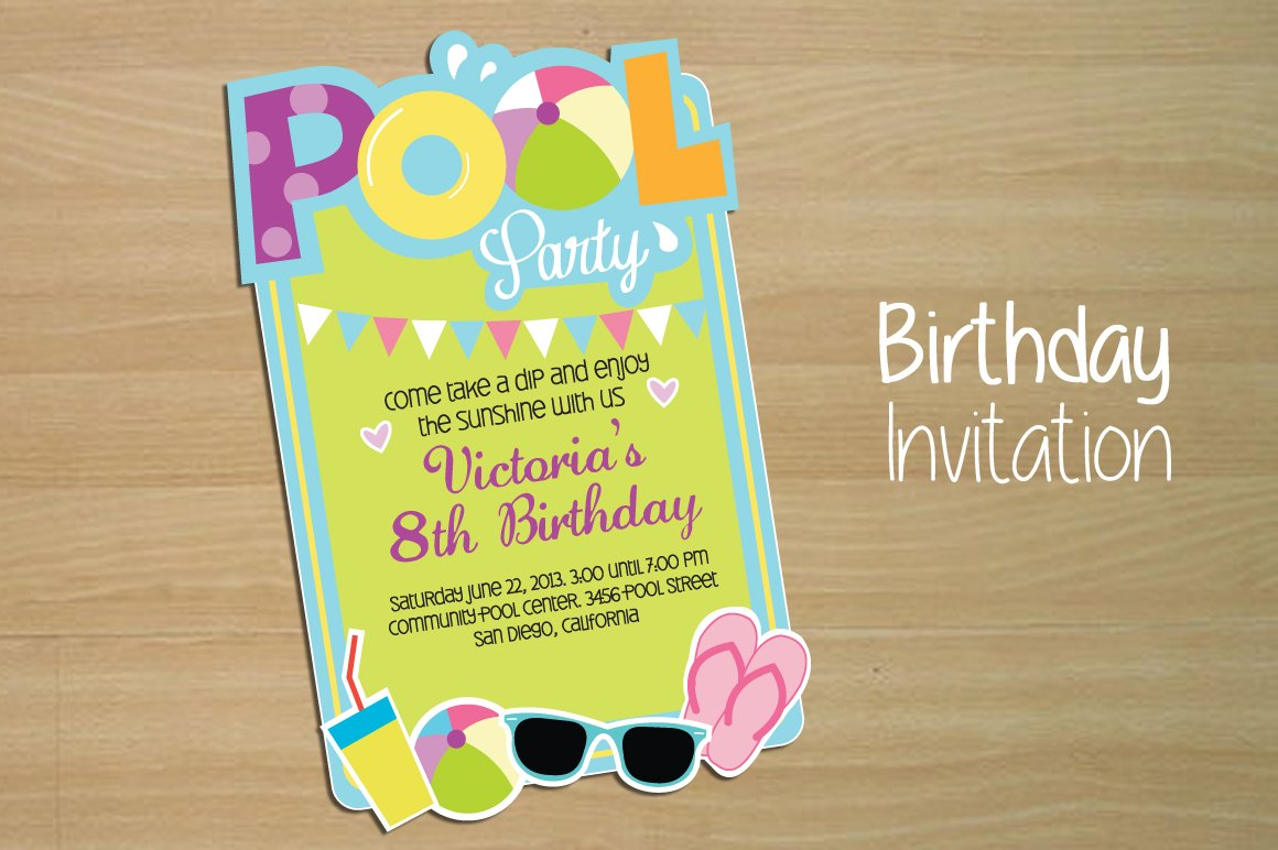 invitation pool party invitation templates creative market. Black Bedroom Furniture Sets. Home Design Ideas