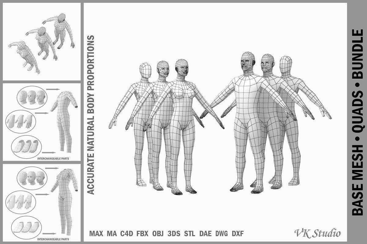 Female and Male Base Mesh A Pose