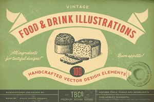 100 Vintage Food Illustrations