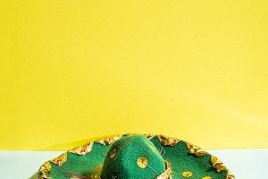 Mexican sombrero hat on geometric ye