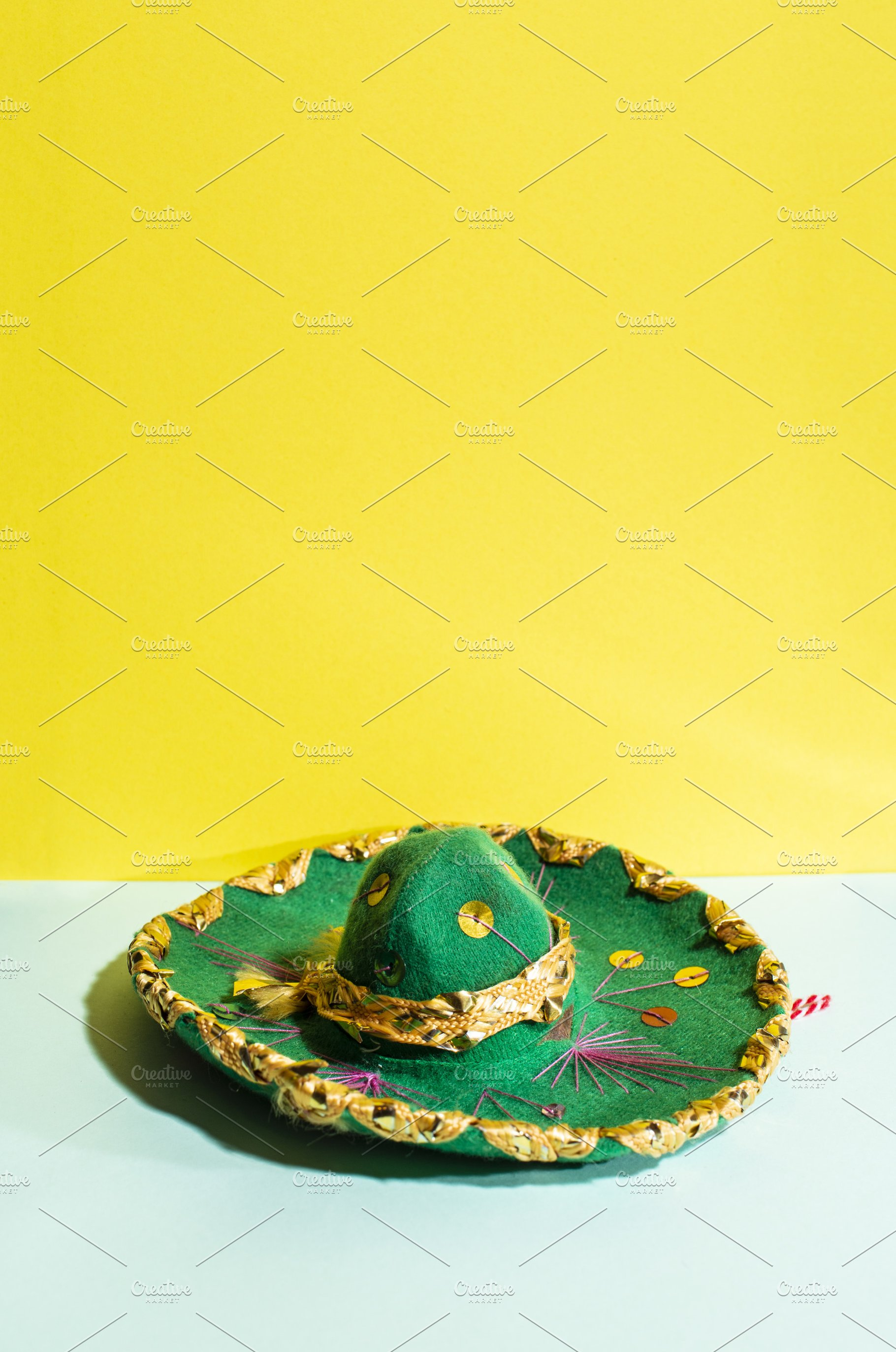 86d44efd3e03f Mexican sombrero hat on geometric ye ~ Abstract Photos ~ Creative Market
