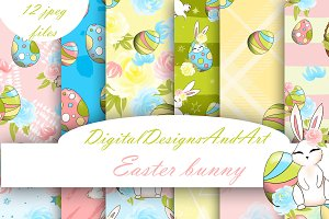 Easter bunny digital paper