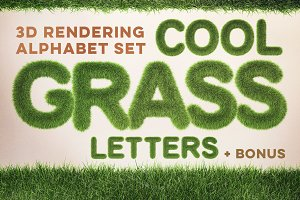 3D Grass Letters Pack