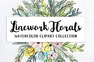 Linework Florals + Greenery Clipart