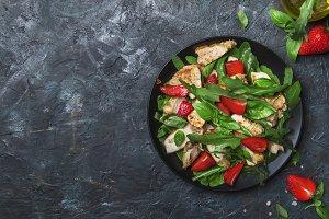 Grilled chicken salad with fresh str
