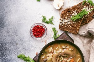 Hot thick mushroom soup with beef, s