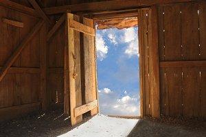 Shack With Sky Through Door