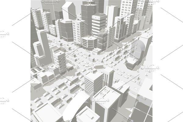 3d city buildings background street