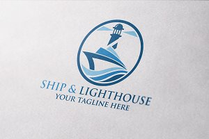 Ship & Lighthouse Logo Template