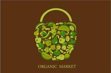 Organic basket - vector illustration