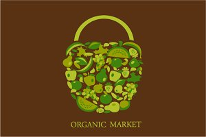 Organic basket - vector illustration