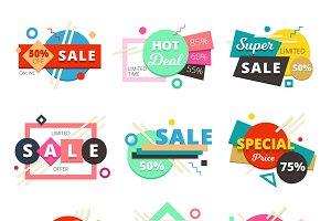 Sale design geometric icon set