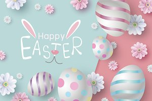 Easter design of eggs and flowers