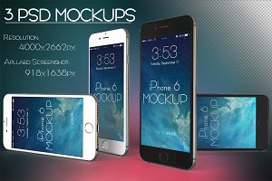 3 PSD MockUPs iPhone 6