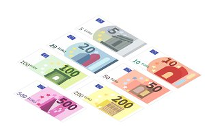 Euro banknotes in isometric view