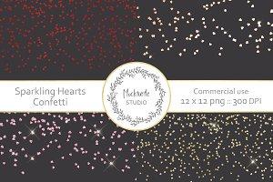 Sparkling Hearts Confetti Overlay