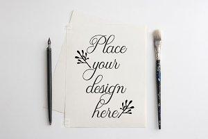 Flatlay Paper Print psd Mockup Page