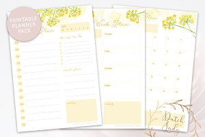 Printable Planner Pack Yellow Flower