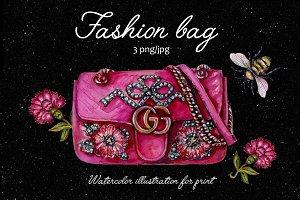 Fashional bag - watercolor print