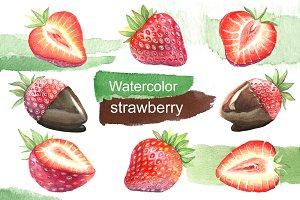 Watercolor strawberry. Dessert