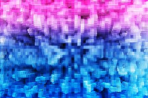 Pink and blue 8-bit extruded 3d bloc