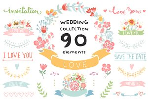 Wedding Floral elements Romantic set