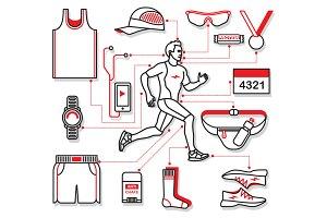 Running Equipment. EPS - JPEG - PNG