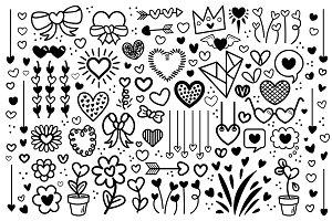 Cartoon Doodle Heart Clip Art Set