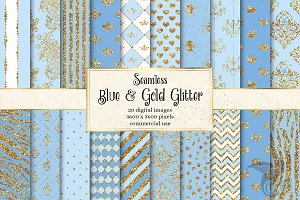Blue and Gold Glitter Digital Paper