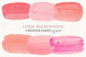 coral background watercolor