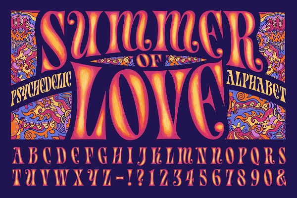 Graphic Objects: Mysterylab Designs - Summer of Love Psychedelic Alphabet